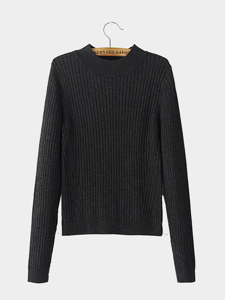 High Neck Rib Sweater in Dark Grey