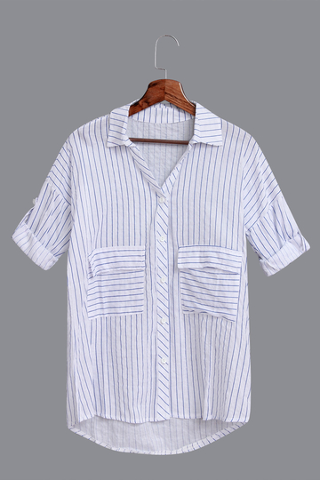 Blue Stripe Pattern Casual Shirt