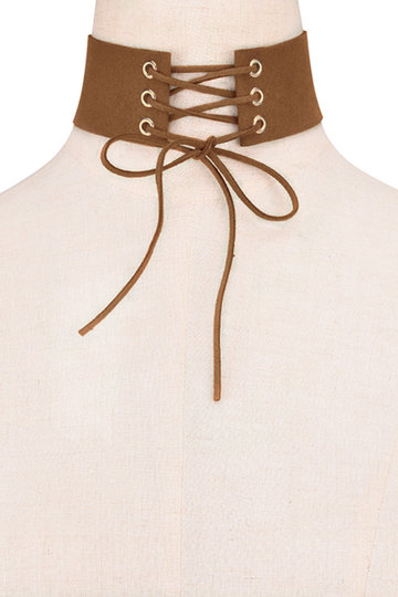 Colar Brown Moda Suede Arredondamento Lace-up