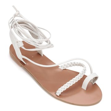 Light Grey Leather Look Detalhe Tecido Lace-up Cross Flat Sandals