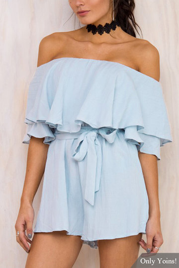 Blue Strapless Playsuit with Layered Details