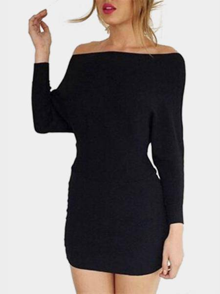 Off Shoulder Bat Long Sleeves Mini Dress in Black
