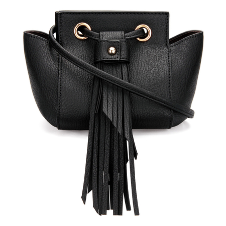 Mini Cross Body Bag in Black with Tassels