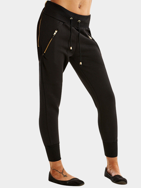 Black Drawstring Waist Trousers With Zipper Pockets