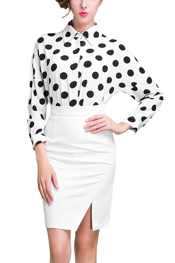 White Wrap High Waist Pencil Skirt