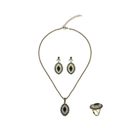 Crystal Rhine Stone Necklace Ring and Earrings Gift Set