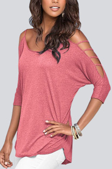 Pink Cold Shoulder 3/4 Length Sleeve T-shirt with Strappy Detail