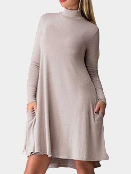 Plus Size High Neck Dress Oscillazione in luce Khaki