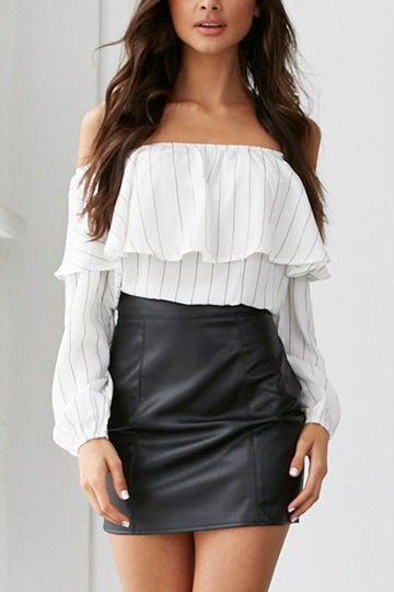 Sexy Stripe Pattern Off Shoulder Long Sleeves Blouse