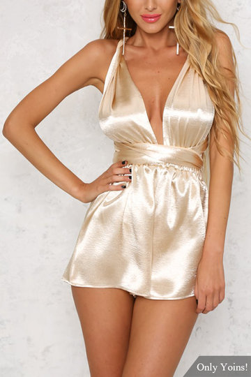 Gold Sleeveless Crossed Back Playsuit