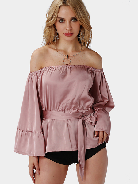 Sexy Off Shoulder Self-tie High Waist with Long Sleeves