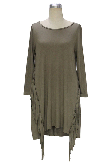 Army Green Dress with Tassel Details