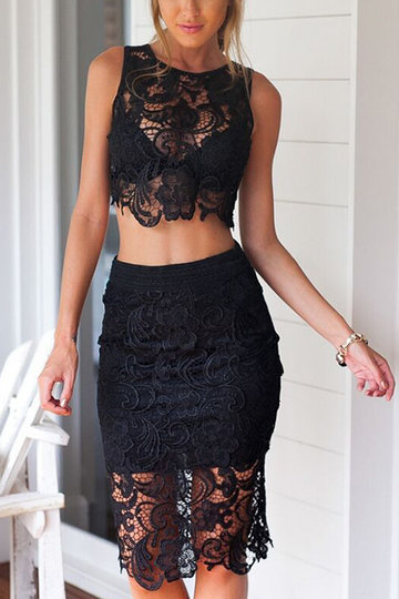 Black Sexy Lace Details Crop Top & Midi Skirt Co-ord