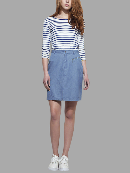 High Waist Splited Denim A-line Skirt