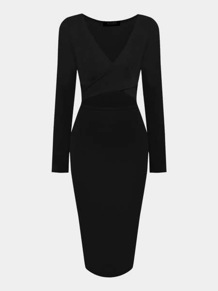 Black Cut Out Midi Dress with Cross Front
