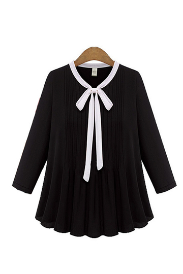 Plus Size Black Bow Drawstring Chiffion Blouse