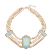 Yoins Baby Blue Opaque Stone Chain Bib Necklace