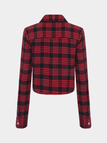 Long Sleeve Check Crop