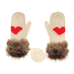 Faux Fur Love Mitten Gloves