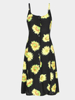 Strap Maxi Dress In Sunflower Print