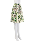White Pleated Floral Print Full Skirt