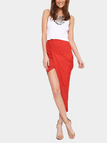 Red Wrap Pleated Skirt