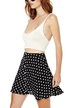 Black Chiffon Small Flower Print Skater Skirt