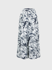 Leaf Print Wide Leg Culottes In Blue