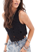 Hollow Out Crochet Top In Black