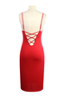 Red Strappy Backless Cut Out V Neck Bodycon Dress