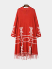 Red Tribal Longline Cardigan with Tassel Hem
