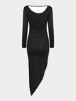Black Asymmetric Dress With Cut Out Back