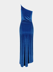 Blue Party Dress with One Shoulder
