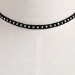 Silver Plated Rivet Design Velvet Ribbon Choker Necklace