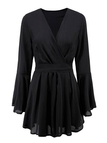 Stunning Black Plunge Flared Sleeves Playsuit