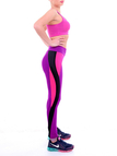 Purple Yoga Leggings with Contrast Side Panel