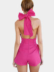 Backless Playsuit with Bow-knot Back