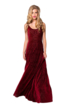 Red Backless Velvet Maxi Dress with Baroque Pattern