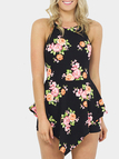 Random Floral Print Crossed Straps Playsuit with Layered Details