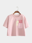Pink Loose Thick T-shirt With Front Pocket