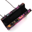 Occasion Box Clutch Bag with Colorful Leaf Print