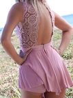 Pink Lace Open Back Round Neckline Sleeveless Playsuit