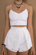 White Sleeveless Cropped Top & Layered Shorts Co-ord