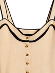 Beige Contrast Colors Design Buttoned Sleeveless Backless Cami