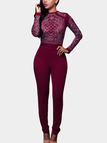Red Sheer-through Hot Fix Long Sleeves Bodycon Jumpsuit