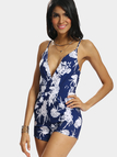 Floral Print Spaghetti Playsuit With Plunge Neckline