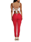 Red Drawstring Waist Pockets Design Trousers