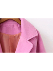 Pink Lapel Woolen Duster Coat