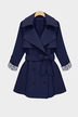 Plus Size Navy Lapel Coat With Waistband