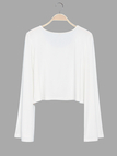 White Flared Sleeves Simple Style Cropped Top